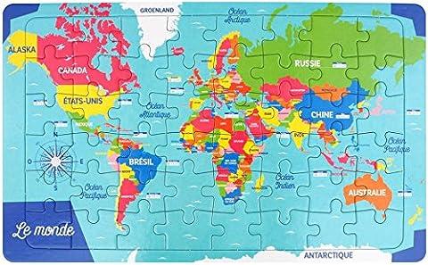 Puzzle cadre 48 pièces 22x36cm - Carte du Monde
