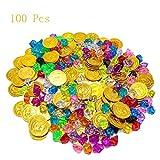 100 Pièces Pirate Gold Coin Gem Set, Diamant Acrylique, Trésor Pirate, Fournitures Fête pour Enfants, Chasse Au Trésor, Anniversaire des Enfants....