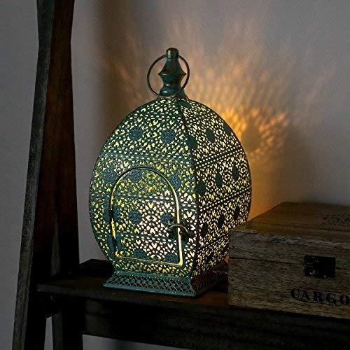 Farolillo turquesa, diseño marroquí en metal con efecto envejecido, incluye vela con iluminación led vela iluminación LED oscilante (26,50cm)