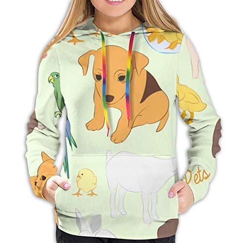 DSFDSFSD Dog, Cat, Parrot, Fish, Pig, Bunny Women's Digital Print Sweatshirts Hooded Couple Hoodie L -