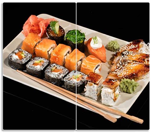 Wallario Herdabdeckplatte/Spritzschutz aus Glas, 2-teilig, 60x52cm, für Ceran- und Induktionsherde, Sushi-Menü mit Inside-Out Sushi, Nigiri und Wasabi