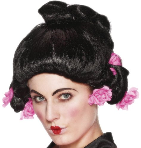 Geisha Girl Kostüm Perücke - Geishaperücke in Schwarz schwarze Geisha Perücke Japan Bobfrisur Frisur Geisha Girl Mädchen für Damen