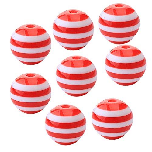 50 Stück DIY Streifen Acryl Runde Perlen - Rot und Weiß