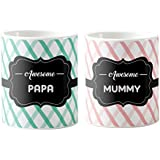 Anniversary Gifts For Indian Mom Dad, Awesome Mummy Papa Couple Mugs, Mother's Day Mugs, Father's Day Mugs