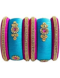 Buds To Blossoms Bangles Collection For Women(Silk Thread Bangles For Women ,Color-Blue & Pink,Size-2.6)