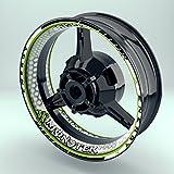 Felgenrandaufkleber Motorrad 4er Komplett-Set (17 Zoll) - Felgenbettaufkleber Monster Energy Hexagon (Grün - glänzend)