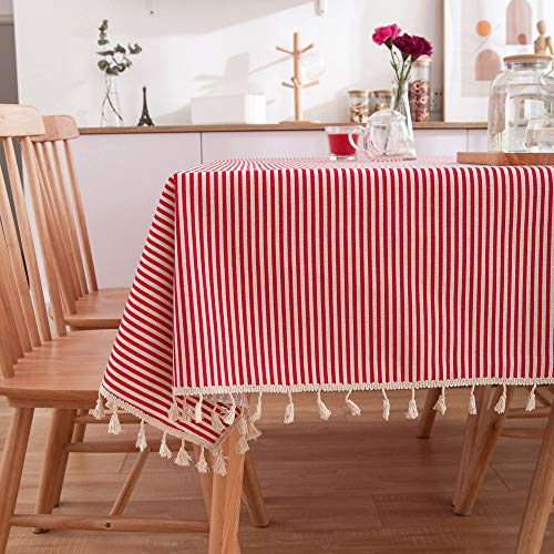 Idyllische karierte Teetischdecke, kleine frische runde Tischdecke aus Baumwollleinen, rote Streifen 60 * 60 (60-zoll-runde Tischdecke Rot)