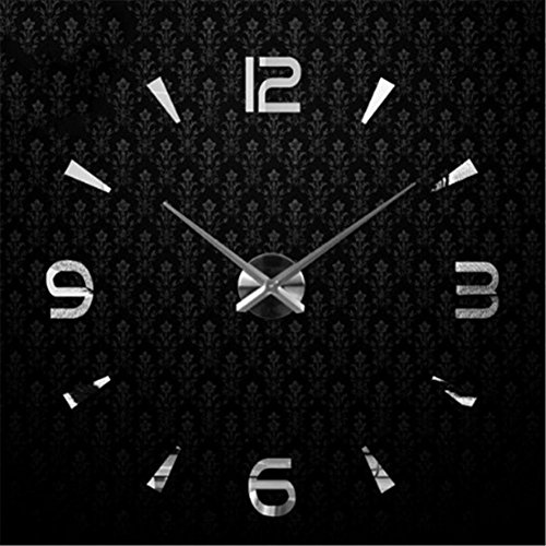 Fgdgh DiySilver 3d Creative Wandaufkleber Mode Uhr Einfache Wanduhr Acryl OPkiuXZ