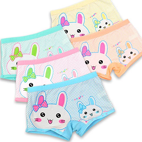 Espoy Girls Knickers Underwear Briefs 5 Pack Back To School Rabbit Elephant Print Cotton Blended Panties Cute Bunny Pattern Multipack UK 2-11 Years