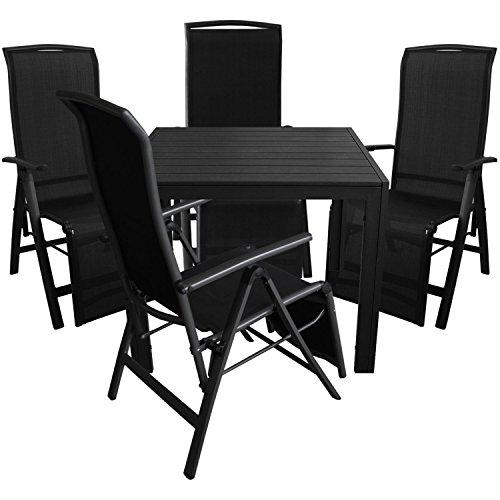 5tlg. Gartengarnitur Aluminium Gartentisch 90x90cm mit Polywood Tischplatte Klappsessel 5 Pos. 2x1 Textilen Schwarz