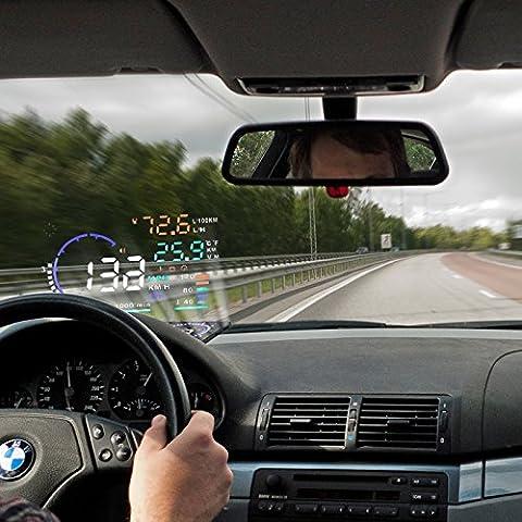 BLESYS - 5,5 pouces multi-couleur de voiture HUD Head Up Display Employ Nano Technology pour Glare Removal and Clear HUD Affichage sans réflexion Film, Travailler avec OBD OBD2 & EUOBD Car seulement