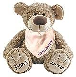 Stofftier Teddy Bär und Baby Halstuch im Set mit Namen personalisiert rosa
