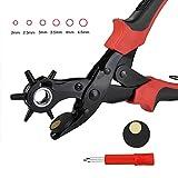 FISTE Rotatable Belt Punch Plier Heavy Duty Craft Pliers 6 Tamaños - 2 mm, 2,5 mm, 3 mm, 3,5 mm, 4 mm, 4,5 mm