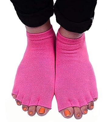 Inaaya Women's Cotton Anti-Slip Toe Socks, Free Size Yoga Socks For Girls And Women, Pink, 10 Gram, Pack Of 1