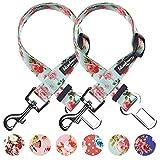 Blueberry Pet Frühlingsblumen-Halsband-Kollection, 8Muster erhältlich, Polyester-Halsbänder & personalisierte Halsbänder, Sicherheitsgurte, passende Leine und Geschirr separat erhältlich.