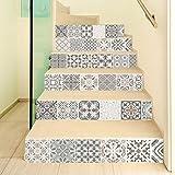 Manyo. 6 Pcs Sticker Carrelage, Stickers Escalier Carreaux Autocollants 3D- Modèle Gris, DéCoration Murale Contremarche Escalier Adhesif en PVC 18 x 100 cm