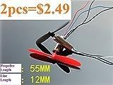 #9: Generic New 2pcs DC3.7V 720 7*20MM Mini Model Helicopter Coreless DC Motor 55mm Propeller