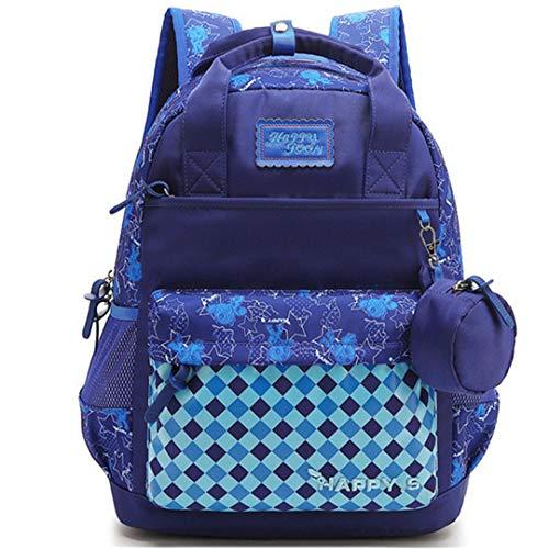 Kids Cartoon School Bags Children Backpacks Waterproof Nylon Girl Orthopedic School Bag Book Bag Grade 1-3 Students Blue