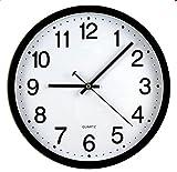 Tosnail Reloj de pared sin ruidos, negro, 30 x 30 x 4 cm