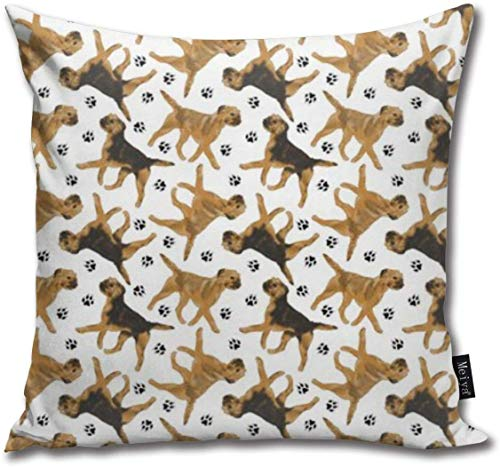 Trotting Border Terriers Cotton Linen Home Decorative Throw Pillow Case Cushion Cover for Sofa Couch, 18