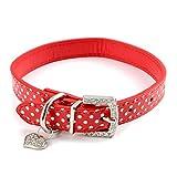 BbearT Hundehalsband, Strass, Herz-Anhänger, für kleine Hunde, Katzen, gepunktet, PU-Leder