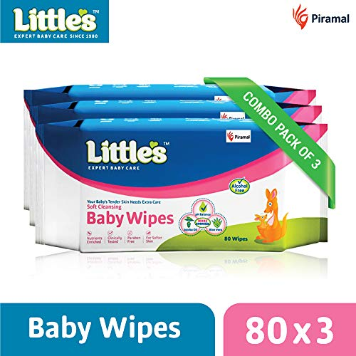 Little's Soft Cleansing Baby Wipes (Pack of 3, 80 Wipes)