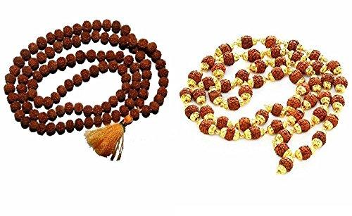 Siddhratan Kombi-Set Rudraksha Mala, Rudraksha vergoldete Mala, Positive Energie für Meditation, mit schöner Tasche