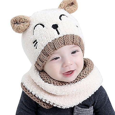 Bonnet Bebe, Oyedens Bonnet de Tricote Chapeaux Ensemble Bonnet Echarpe Hiver Chaudes Coif Casquettes Écharpe Réchauffez Pour Enfant Unisexe 1-3 ans Enfants (Beige)