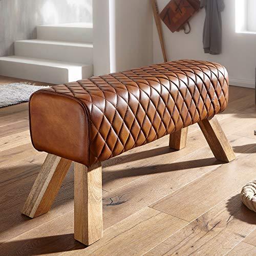 FineBuy Sitzbank Echtleder/Massivholz 89x46x35 cm Leder Modern Turnbock | Springbock Lederhocker | Sitzhocker Turnbank Gepolstert