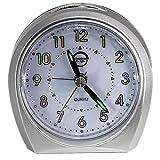 Wecker Lautloses Drehen (kein Ticken), (Silber) moderne Snooze-Nachtlicht-Uhr, stille Nachttischuhr, Reise-Uhr für Büro, Haus, einfaches Set, Quarz-Qualität, Silber