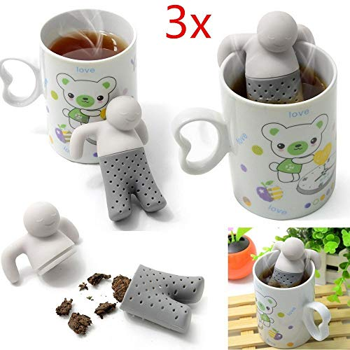 Kingsea, 3 infusori in silicone mr.tea, a forma di omino