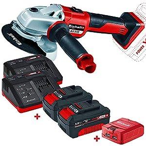 Amoladora Einhell 18V Power X-Change TE-CD Li + 2 Baterias 3Ah + 2 cargadores + Regalo (Adaptador para Cargar Móviles) – Edición Bricolemar Pro Power