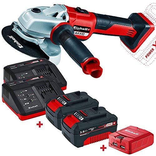 Amoladora Einhell 18V Power X-Change TE-CD Li + 2 Baterias 3Ah + 2 cargadores + Regalo (Adaptador para Cargar Móviles) - Edición Bricolemar Pro Power
