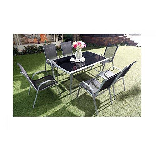 Mon Usine 198431 Le Grenadin Salon de Jardin Table et 6 chaises en Aluminium Gris 150 x 90 x 72 cm