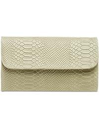 CASPAR TL722 Clutch en véritable cuir pour femme / Pochette enveloppe de soirée avec imprimé croco