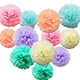 #5: 12 Pcs Assorted Rainbow Colors Tissue Paper Pom Poms Flower Balls For Birthday Wedding Party Baby Shower Decorations