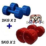 #5: MFITTCombo PVC MULTICOLOUR Dumbell Set 2Kg-1pair +5Kg-1pair,