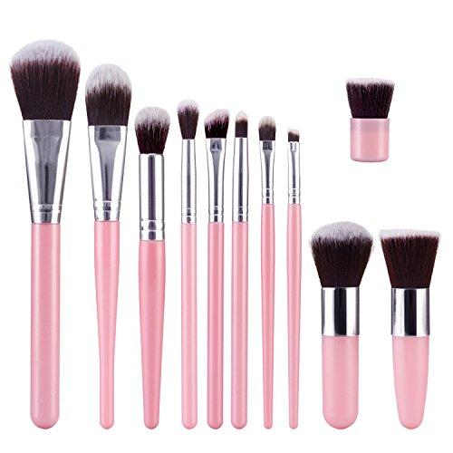 TOPBeauty Kit de Pinceau maquillage Professionnel 11 PCS Ombre a Paupiere Dore Blush Fondation Pinceau Poudre Fond de teint Anti-cerne Kit Pinceaux Pink Sliver
