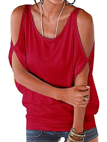 Elevesee Donne Sexy V-Collo Tinta Unita Maniche Corte Camicia Estiva Top Camicetta Casuale T-Shirt Blouse Rosso