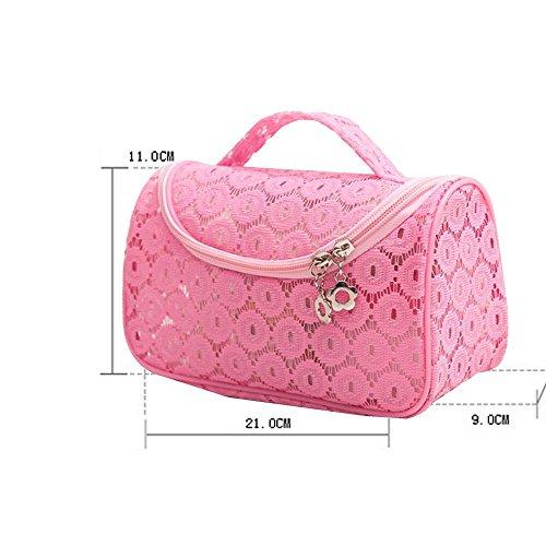 NACHEN Make-up Taschen für Frauen Lace Portable Reise Kosmetik Waschen Tasche Wasserdichte Aufbewahrungsbeutel Finishing Bag Pink