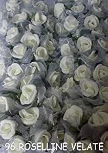 96 ROSE VELATE BIANCO ROSELLINE FIORELLINI per BOMBONIERE SPOSI SERIE LUX
