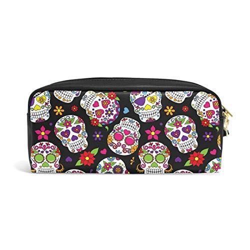 Tag der Toten Zuckerschädel Federmäppchen Tasche mit Reißverschluss für die Reiseschule Kleine Kosmetiktasche