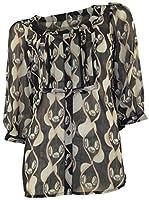 Marks & Spencer Sheer Chiffon Black & Fawn Print Tunic 3/4 Sleeves