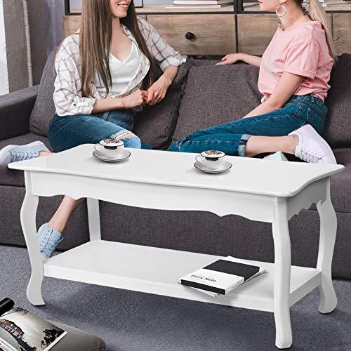 Couchtisch aus Holz mit Ablageboden | 87x42x44cm, weiß lackierte | Wohnzimmertisch, Beistelltisch, Kaffetisch, Sofatisch -