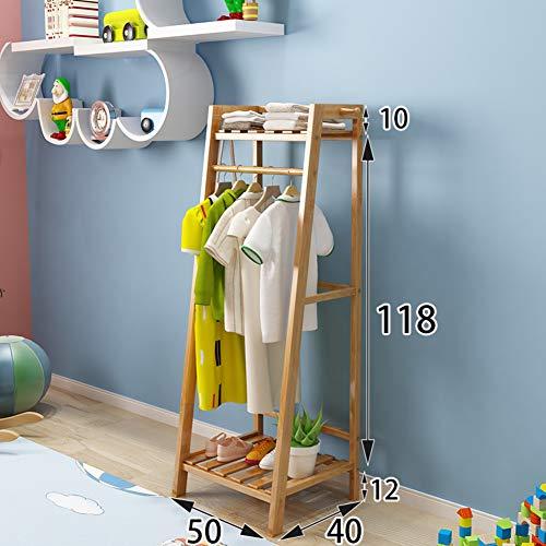 JiaQi Einfache Kleidungsstück rackcoat Baum Freistehend,Bambus Garderobenständer, 6 Haken Für Jacke Portemonnaie Schal Rack Einfache Montage-B 50x40x118cm(20x16x46inch)