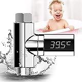 LED-Display-Wasser-Duschthermometer, selbst erzeugender Strom-Wassertemperaturmonitor, 360 ° drehbare wasserdichte LED-Bildschirmtemperatur für Trinkwasser und Babypflege