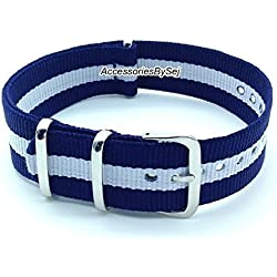 AccessoriesBySej ® TM - G10 NATO MOD NYLON WATCH STRAP - 35 Different Styles & Sizes - (20MM BLUE/WHITE/BLUE 3S) - Presented with a FREE Luxurious AccessoriesBySej ® TM Velvet Gift Pouch/Bag
