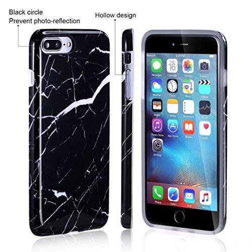 Cover iPhone 6/6S Plus marmo nero silicone Guscio morbido DECHYI TPU silicone e IMD disegno marmo Custodia serie -Nebulosa nera Fragola bianca nera