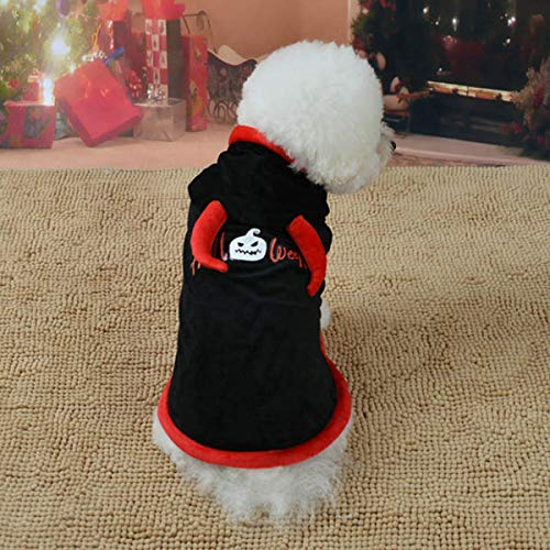 Böse Pet Hut Hexe Kostüm - Balacoo Hundekostüm Devil Bull's Horns Design Haustier Halloween Cape Hoodies Thema Party Mantel Winter Warmer Mantel für kleine mittelgroße Hunde Katzen Haustier Bekleidung Schwarz-Größe XS