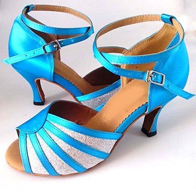 ... XIAMUO Latin anpassbare Damen Sandalen Satin mit funkelnden Glitter  Schuhe Silber und Blau ...